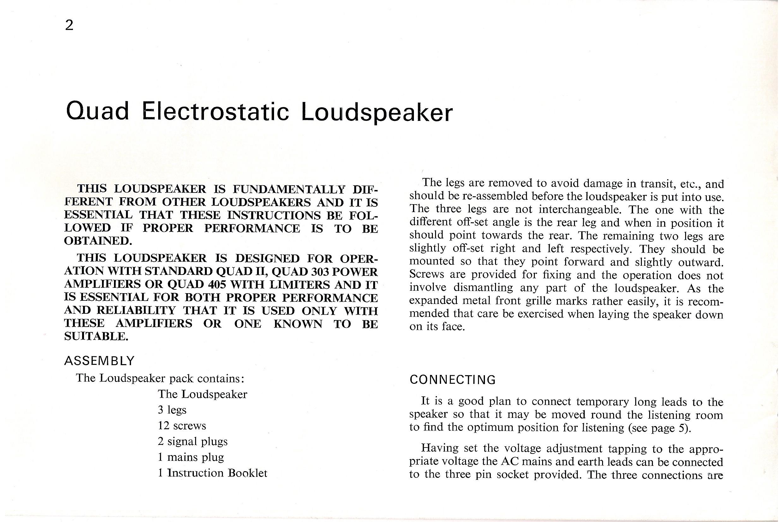 Quad ESL 57 – User manual | Audiophile Vintage