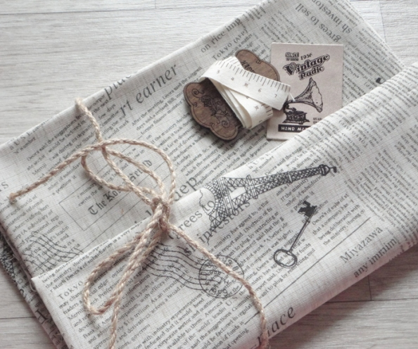 Japanese Zakka French Chic Newspaper Cotton Linen Fabric
